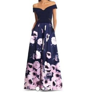 Xscape Off-Shoulder Floral Dress Navy Lilac 10